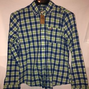 Perfect blue and lime green plaid button down